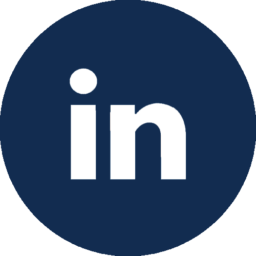 LinkedIn icon in dark blue